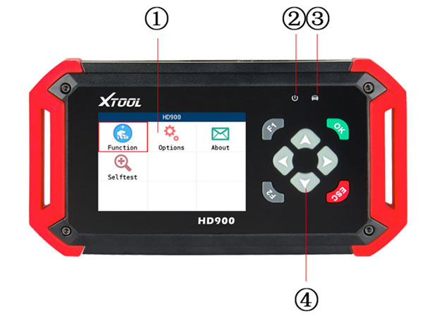 xtool hd900 code reader layout front view
