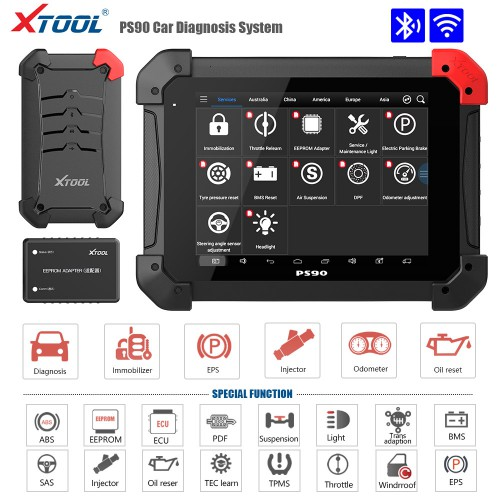 (Black Friday Sale) Xtool PS90 Pro Diagnostic Tool with KC100 Work for VW 4th&5th IMMO and BMW CAS Key Progamming for Cars&Trucks