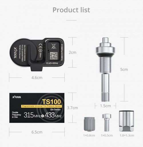 XTOOL TS100 433&315MHz TPMS Sensor Tire Repair Tools Work with TP150/TP200 Original with Quality Promise