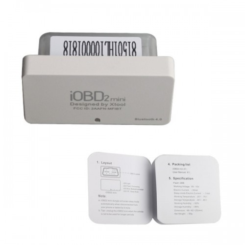 [Free Shipping] 10PCS XTOOL iOBD2 Mini OBD2 EOBD Scanner Support Bluetooth 4.0 for iOS and Android